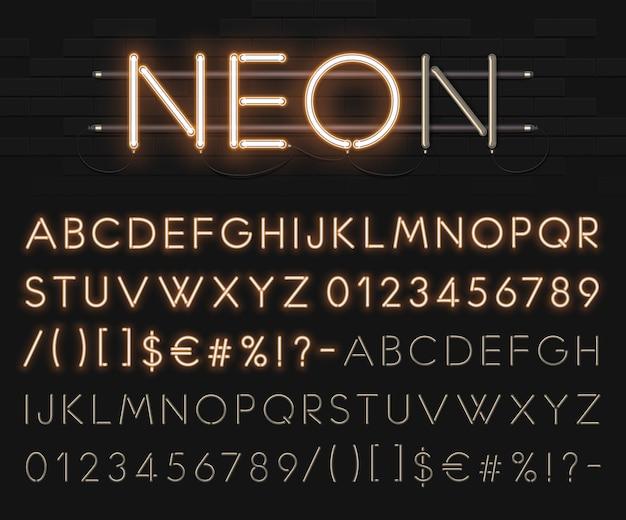 Alphabet néon réaliste sur un fond de mur de briques noires. police lumineuse brillante. format