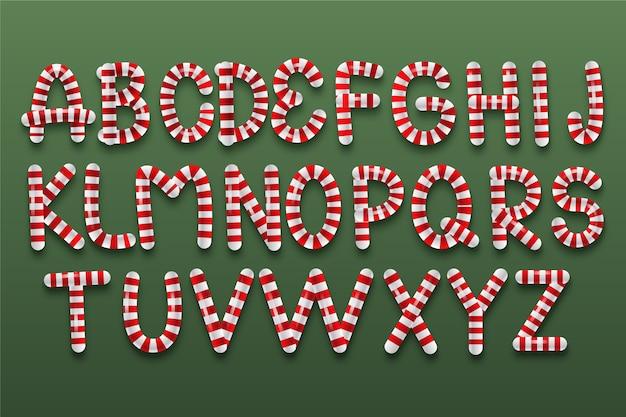 Alphabet de noël en canne de bonbon de a à z