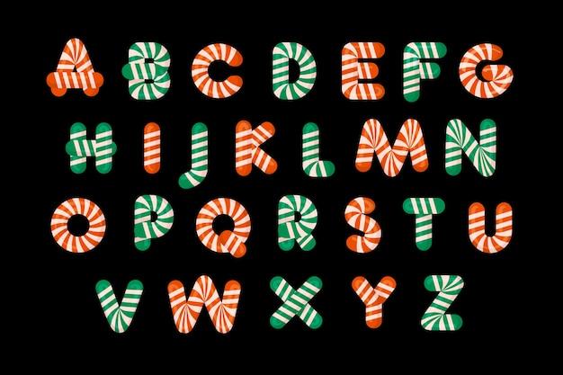 Alphabet de noël en canne de bonbon