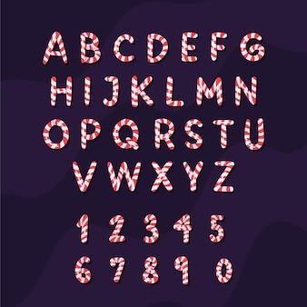 Alphabet de noël de canne à sucre