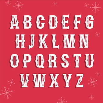 Alphabet de noël illustration vintage