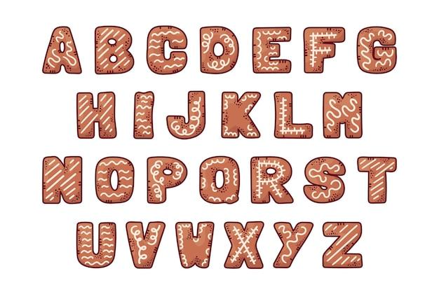 Alphabet de noël en pain d'épice festif