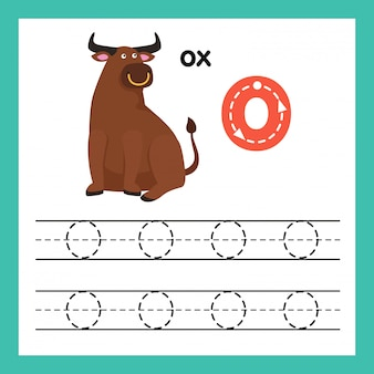 Alphabet o exercice avec illustration de vocabulaire de dessin animé, vector