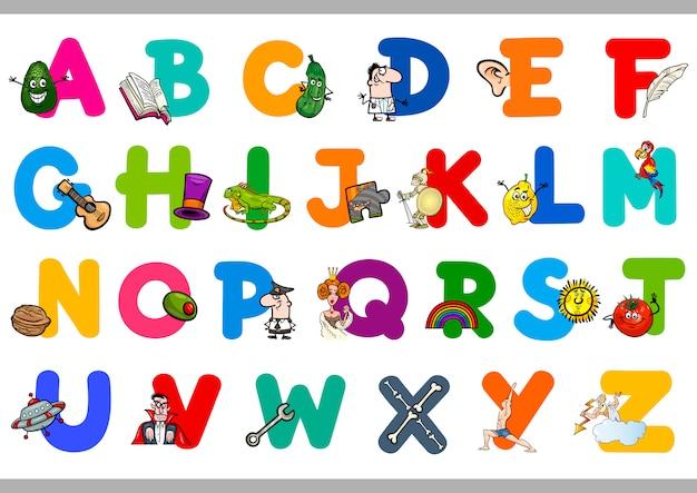 Alphabet avec des objets pour les enfants