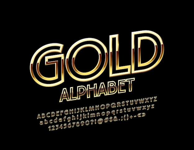 Alphabet d'or chic police mince fait pivoter les lettres exclusives, les chiffres et les symboles