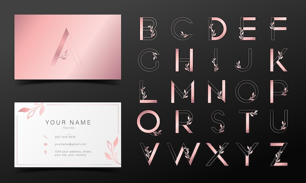 Alphabet en or rose dans un style moderne pour la conception de logo et de marque.