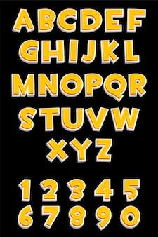 Alphabet orange 3d et nombres pour les jeux d'interface utilisateur, texte. collection d'illustrations vectorielles lettres et chiffres colorés pour l'interface graphique.