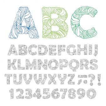 Alphabet orné dessiné à la main.