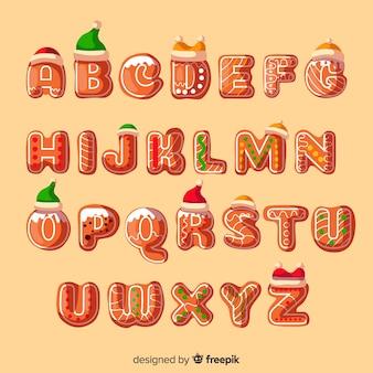 Alphabet en pain d'épice décoré avec des chapeaux