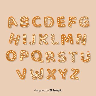 Alphabet en pain d'épice dessiné à la main