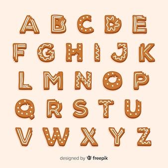 Alphabet en pain d'épice mordu