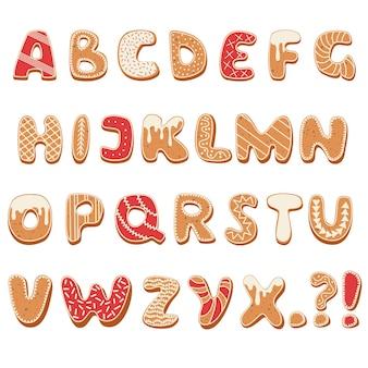 Alphabet de pain d'épice de noël et du nouvel an et de jolies lettres traditionnelles de biscuits de vacances