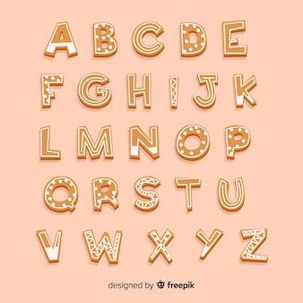 Alphabet en pain d'épice rayé et pois