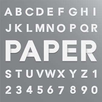Alphabet de papier blanc avec ombre