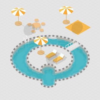 Alphabet de piscine 3d isométrique q