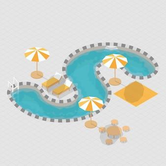 Alphabet de piscine 3d isométrique s