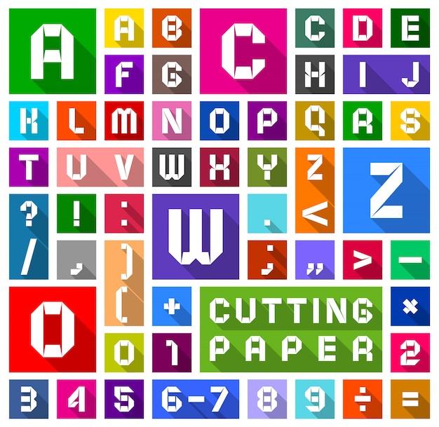Alphabet plat coupé en papier, style plat