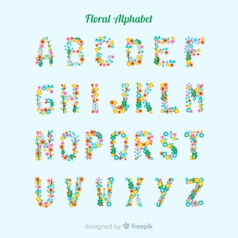 Alphabet plat avec des fleurs