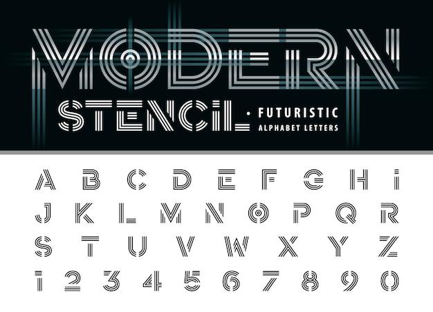 Alphabet de pochoir moderne lettres et chiffres