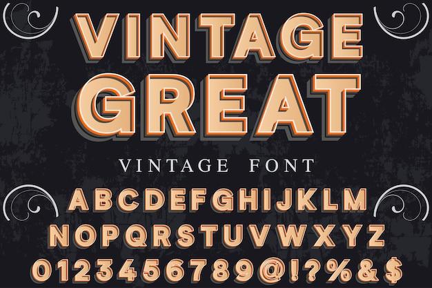 Alphabet de police 3d script typeface fait à la main conception d'étiquettes manuscrites nommé vintage grand