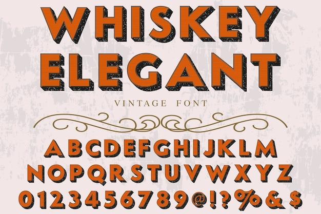 Alphabet de police 3d script typeface fait à la main conception d'étiquettes manuscrites nommée whisky vintage élégant