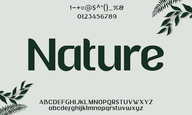 Alphabet de police de caractères de nature élégante