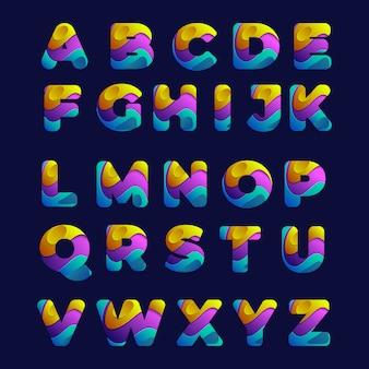 Alphabet de police liquide coloré