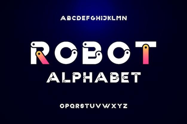 Alphabet de police moderne jeu de lettres technologie