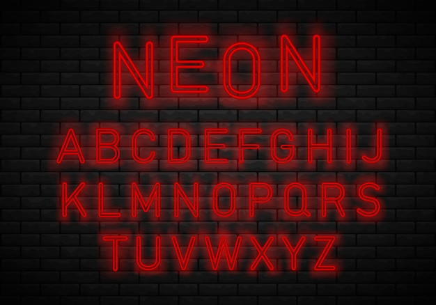 Alphabet de la police neon light