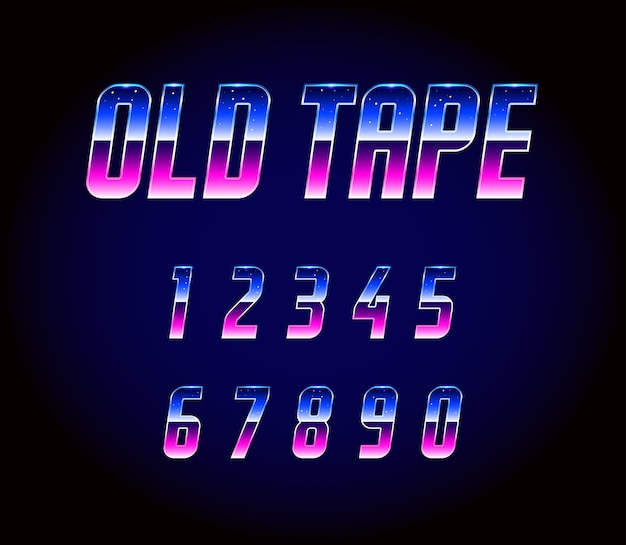 Alphabet de polices rétro des années 80