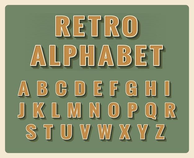 Alphabet de polices rétro. typographie vintage de modèle, type d'élément.