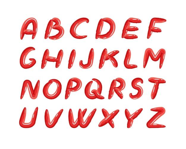 Alphabet avec des polices rouges