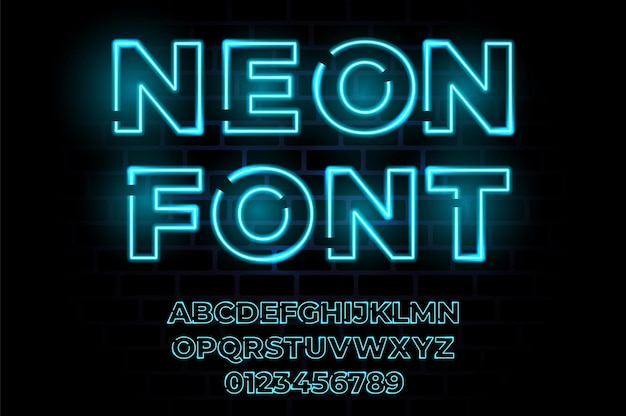 Alphabet réaliste de typographie néon lueur.
