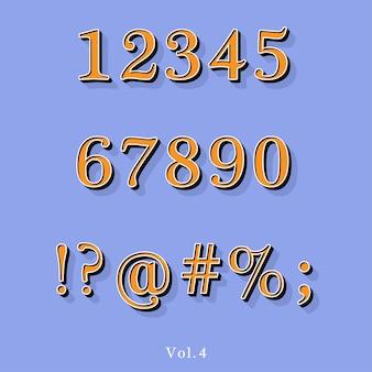 Alphabet en relief de style vintage rétro avec ombre doublée.