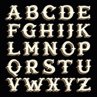 Alphabet rétro dans un style occidental avec une ombre de lignes.