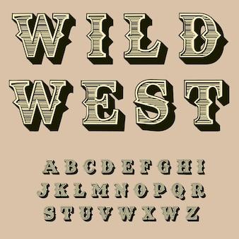 Alphabet rétro occidental. contexte. typographie vintage.