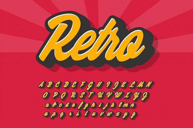 Alphabet rétro avec ombre