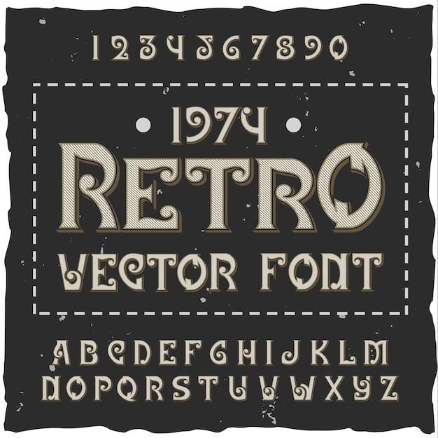 Alphabet rétro avec texte orné modifiable avec chiffres et lettres de police isolés