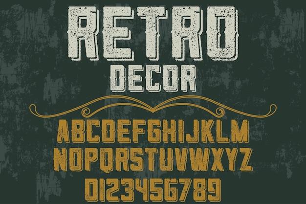 Alphabet rétro typographie police design décor