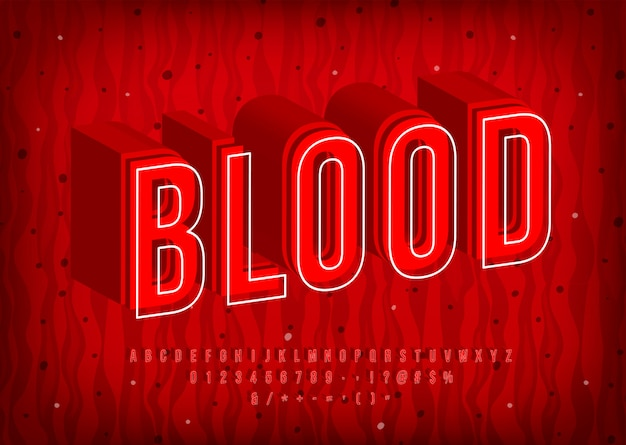 Alphabet de sang, lettres chaudes thermiques, police rouge à la mode. chiffres et symboles