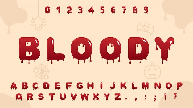Alphabet de sang rouge
