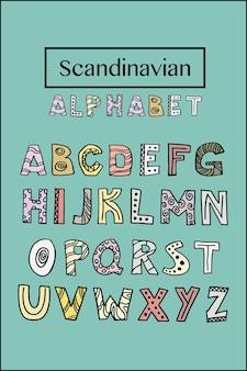 Alphabet scandinave à la mode en vecteur. lettrage à la main abc. conception typographique nordique pour affiche, bannière, impression, salle de jeux pour enfants de décoration ou carte de voeux. ensemble de lettres éducatives mignonnes.