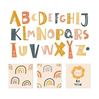 Alphabet scandinave et modèle sans couture mis mignon