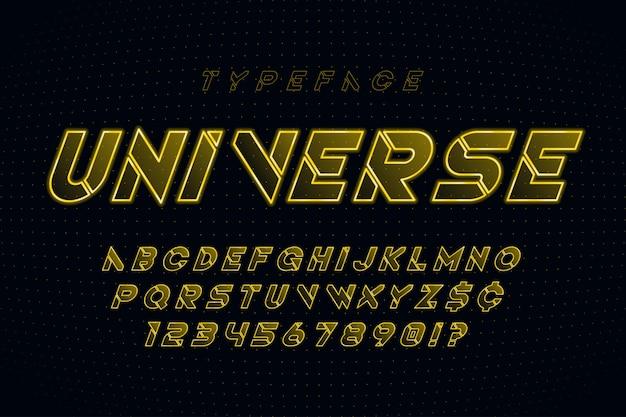 Alphabet de science-fiction futuriste brillant, jeu de caractères créatifs.