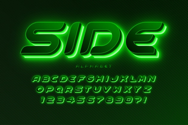 Alphabet de science-fiction futuriste, conception d'espace supplémentaire brillant, jeu de caractères créatifs.