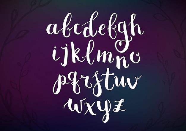 Alphabet de script dessiné à la main de vecteur
