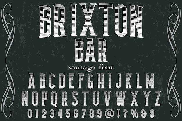 Alphabet shadow effect étiquette design brixton bar