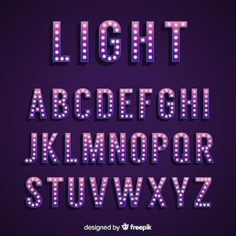Alphabet de signe de lumière rétro