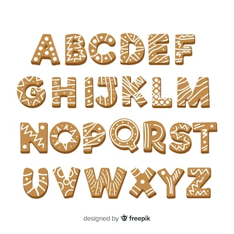 Alphabet simple en pain d'épice