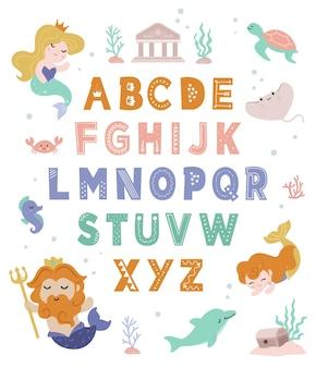 Alphabet sirène dessiné à la main pour les enfants